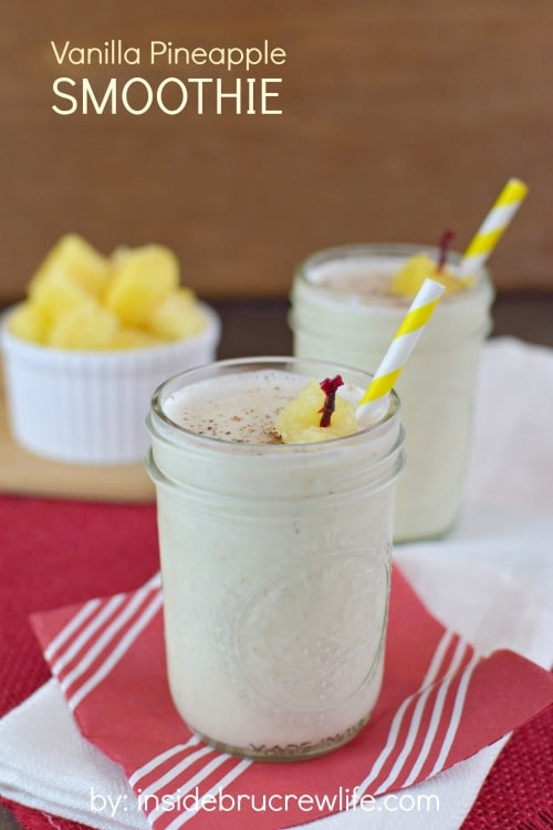 Pineapple, yogurt, and oats make a delicious tropical smoothie that will help you stay on track with that healthy eating.