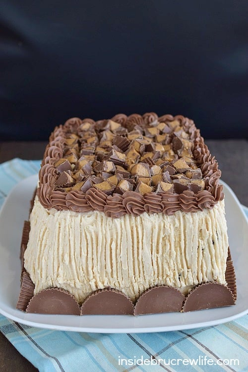 Best Chocolate Peanut Butter Cake - layers of peanut butter and chocolate frosting make this the absolutely best chocolate cake. Make this easy recipe for all your parties! #cake #chocolate #homemade #peanutbuttercups #peanutbutterfrosting