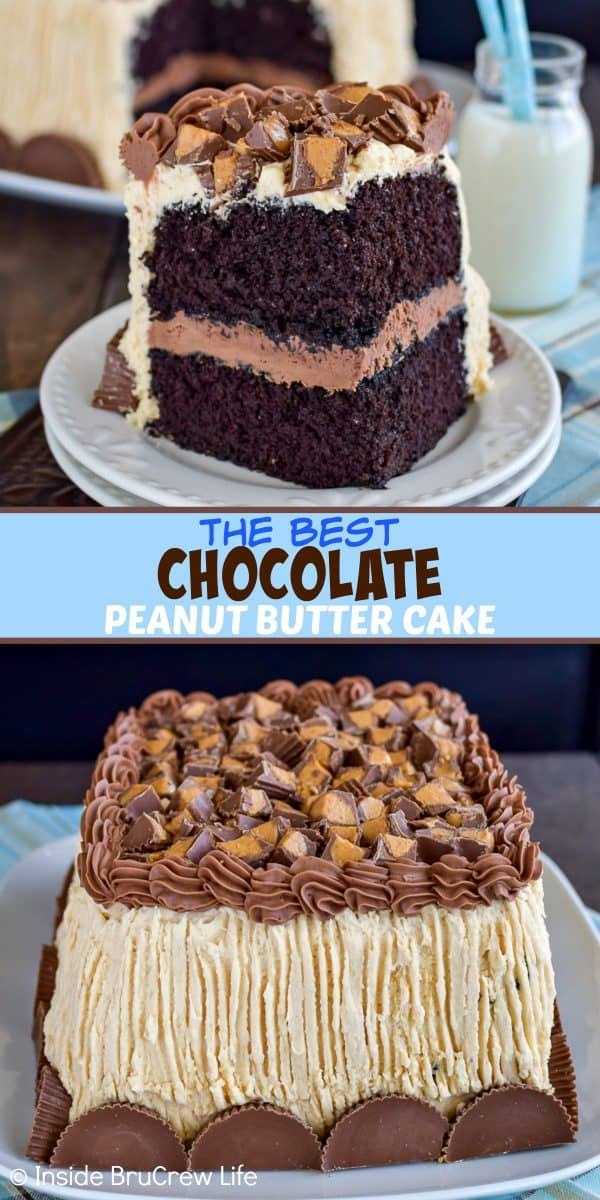 Best Chocolate Peanut Butter Cake - soft homemade chocolate cake with chocolate and peanut butter frosting is perfect for chocolate lovers. Make this easy recipe for parties and events! #cake #chocolate #homemade #peanutbuttercups #peanutbutterfrosting
