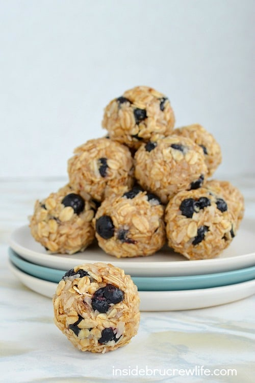 Blueberry and coconut make these easy no bake granola bites a sweet, healthy treat to enjoy.
