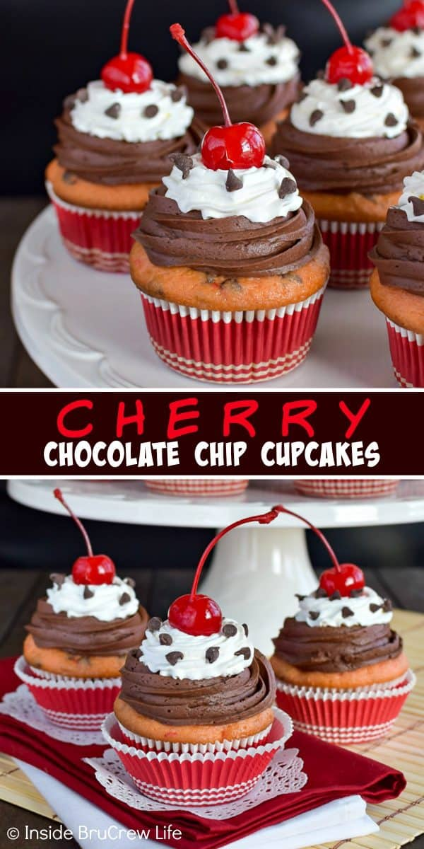 Cherry Chocolate Chip Cupcakes - chocolate chips and cherries add a sweet flair to this doctored up cake mix recipe! Make these easy cupcakes for parties this month! #cupcakes #cakemix #doctoredupcakemix #cherry #chocolate