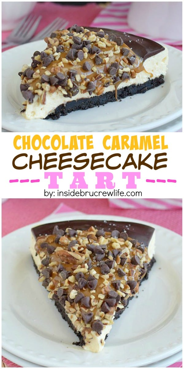 Chocolate Caramel Cheesecake Tart - layers of caramel cheesecake, chocolate, pecans, and caramel make this a must make treat! Try this easy recipe the next time you need an impressive dessert!