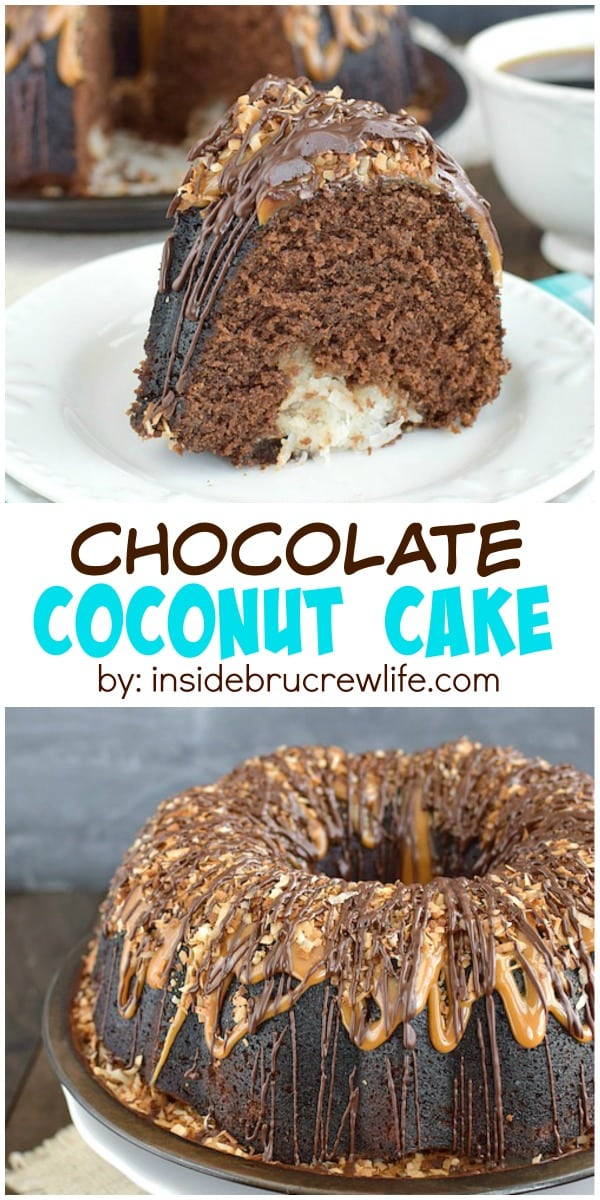 Chocolate Coconut Cake - chocolate, caramel, and coconut make this cake an amazing treat. Great dessert recipe!