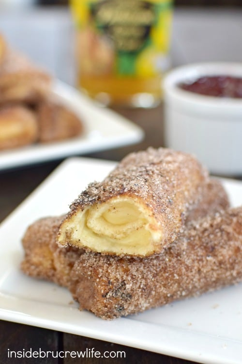 Lemon cheesecake inside a crispy french toast roll is a delicious breakfast choice!