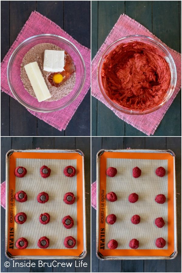 Four pictures showing how to make red velvet peppermint pattie cookies collaged together