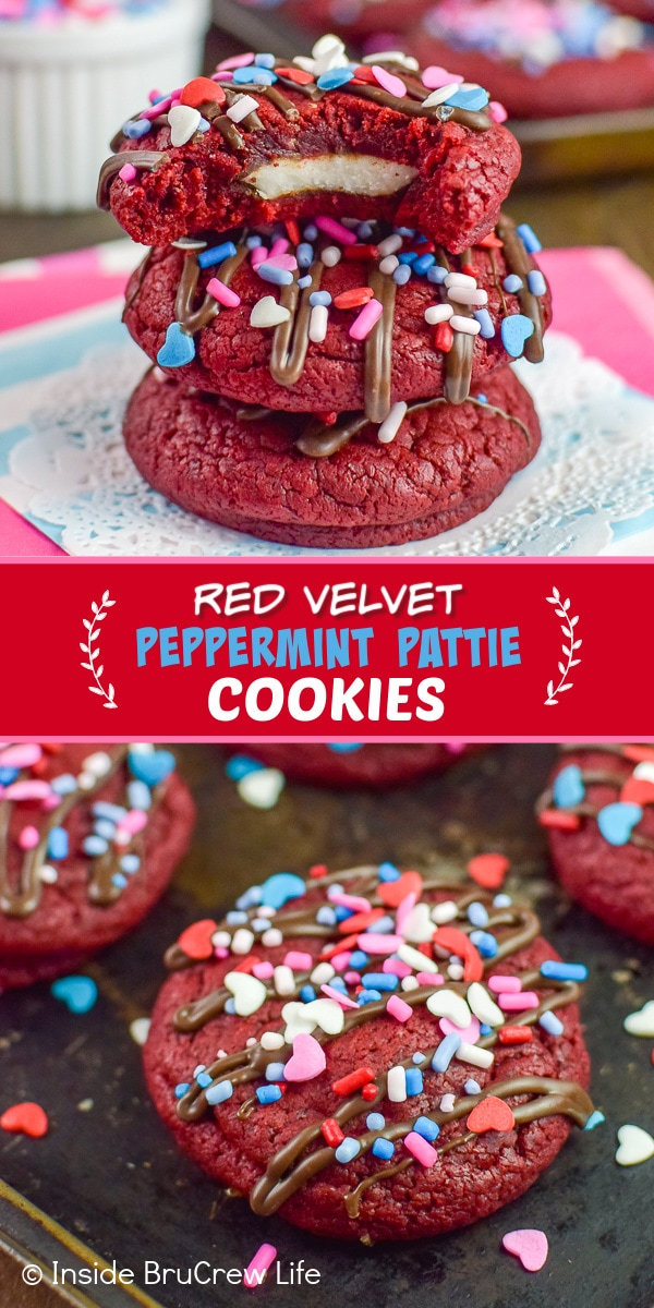 Two pictures of Red Velvet Peppermint Pattie Cookies collaged together with a red text box