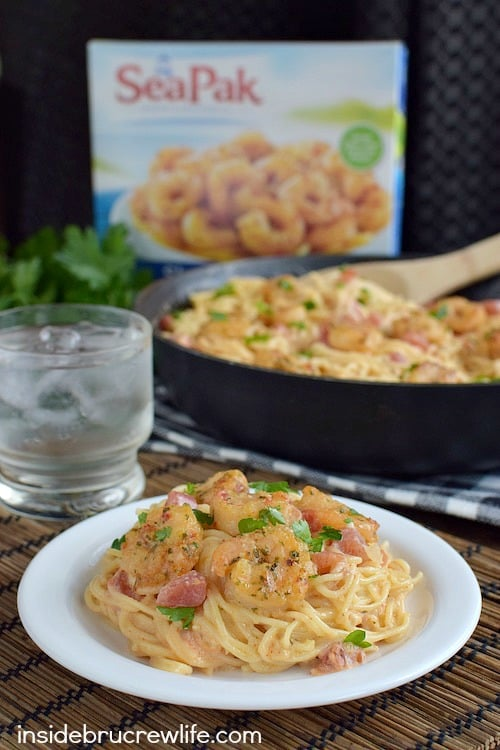 A spicy and creamy parmesan sauce makes this shrimp scampi a delicious meal in under 30 minutes.