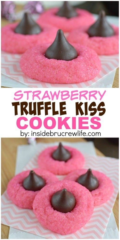 easy strawberry cookies are topped with a truffle kiss Hershey kiss ...