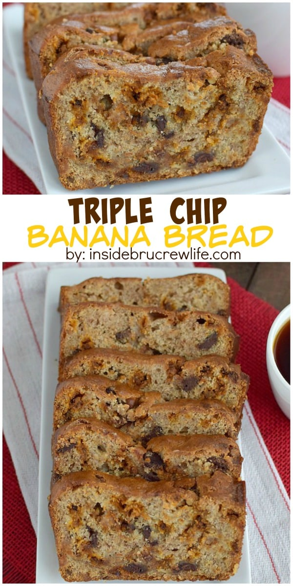 Three times the chocolate chips will make this banana bread a hit at breakfast or snack time! It will disappear in a hurry!