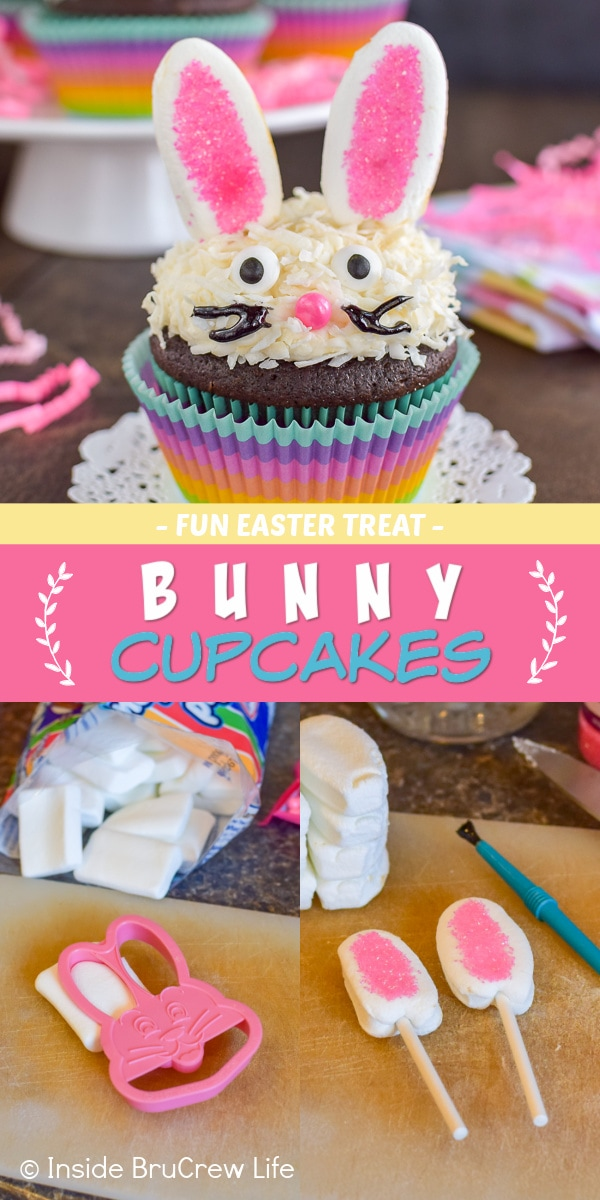 Three pictures collaged together with a pink and yellow text box showing a bunny cupcake and how to make marshmallow ears