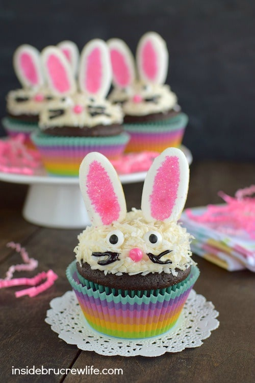 Chocolate Coconut Bunny Cupcakes - marshmallow ears and a sweet bunny face make these easy cupcakes a fun treat for Easter or spring parties!