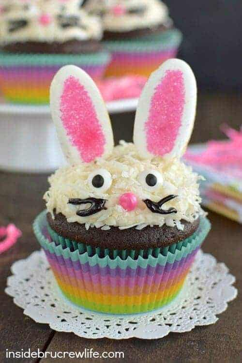Chocolate Coconut Bunny Cupcakes - a cute little bunny face and marshmallow ears makes this such a fun Easter treat for spring parties!