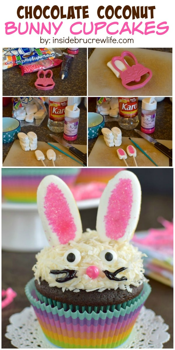 Chocolate Coconut Bunny Cupcakes - add these easy bunny ears and face to make a fun cupcake recipe for Easter or spring parties!