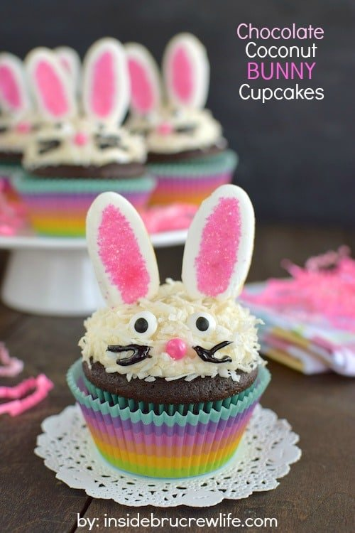 Chocolate Coconut Bunny Cupcakes - an easy to make bunny face makes these cupcakes an adorable treat. Great Easter dessert recipe!