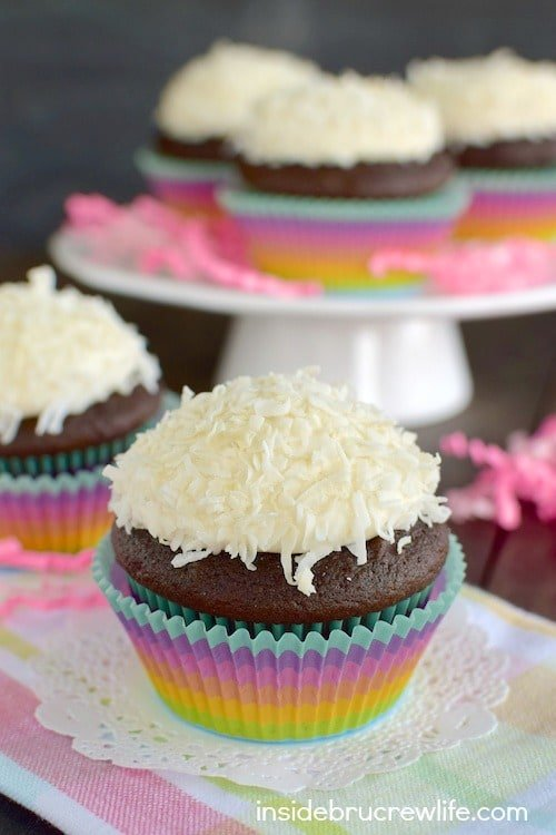 Chocolate cupcakes with coconut marshmallow frosting tastes amazing.