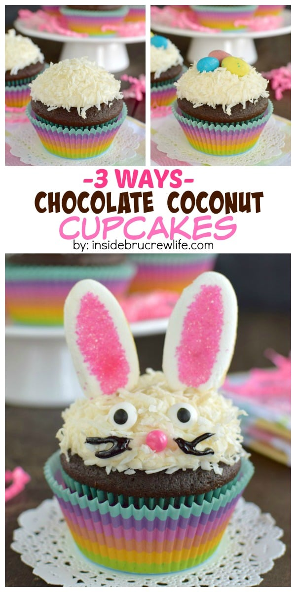 Three ways to decorate these Chocolate Coconut Cupcakes makes them so cute for Easter.