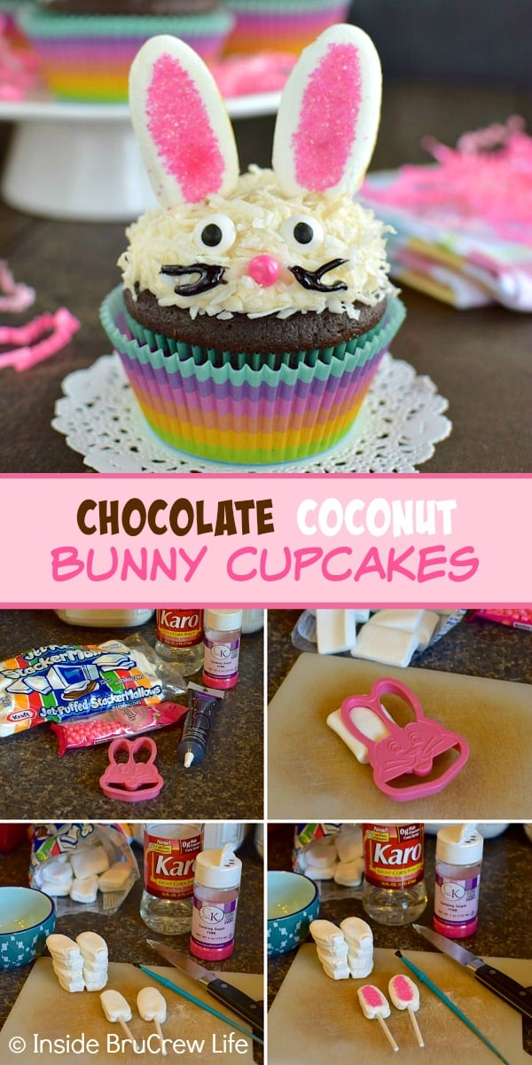 Chocolate Coconut Bunny Cupcakes - coconut frosting topped with marshmallow ears and a bunny face makes a cute cupcake. Make this easy recipe to serve at Easter dinner.