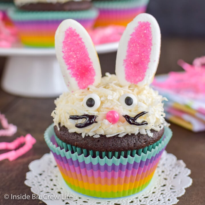 A rainbow cupcake liner with a chocolate cupcake decorated with frosting, coconut, marshmallow ears, and candy eyes