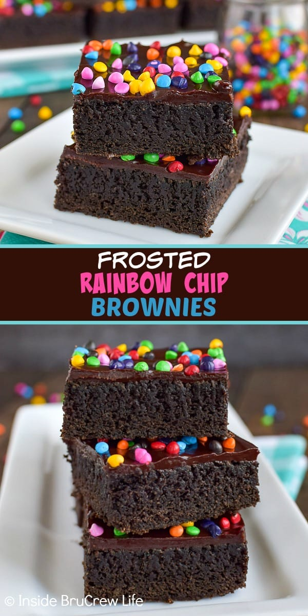 Frosted Rainbow Chip Brownies - the dark chocolate frosting and rainbow chips make these homemade dark chocolate brownies look and taste amazing. Make this fun and easy copycat cosmic brownies recipe for bake sales or dessert.