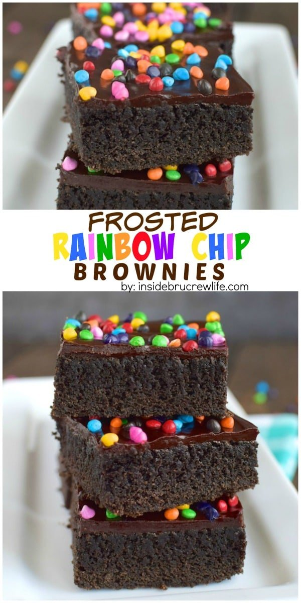 Rich and dark homemade brownies topped with a fudge frosting and rainbow chip sprinkles are a fun treat any time of day.