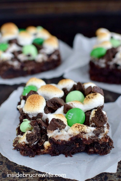Three times the mint cookies and candies and marshmallows turn these brownies into a mint lovers dream dessert