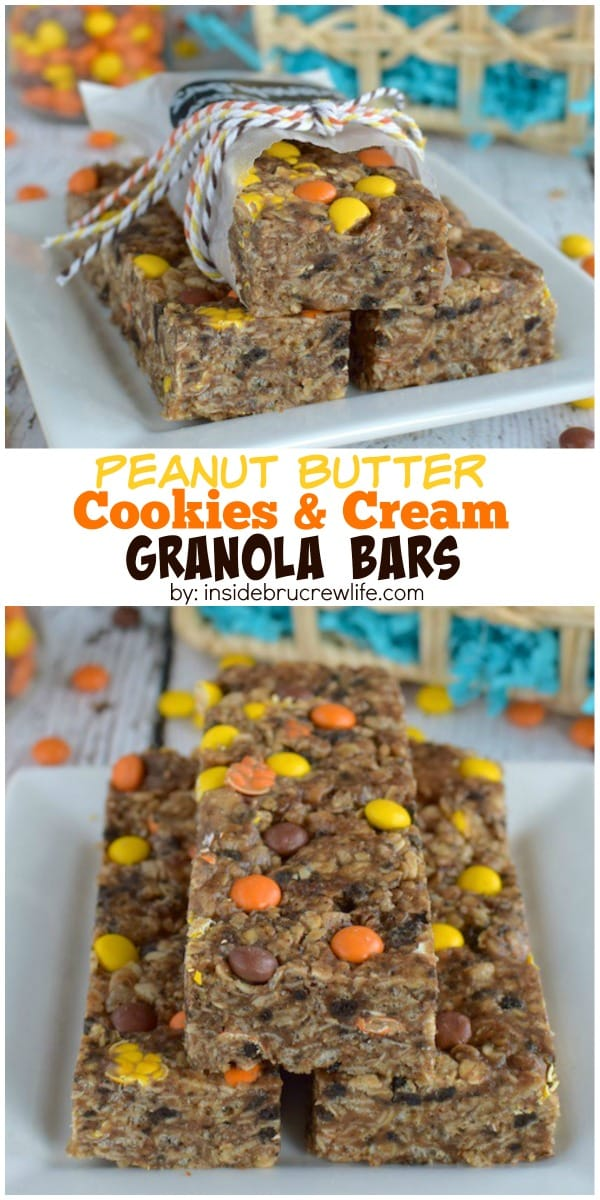 Two pictures of Peanut Butter Cookies and Cream Granola Bars collaged together with a white text box