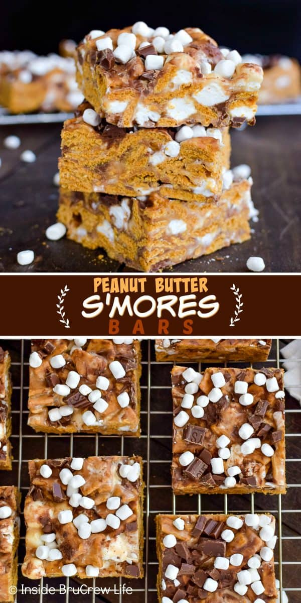 Peanut Butter S'mores Bars - these easy no bake treats are loaded with gooey marshmallow and chocolate. Great recipe to make for summer parties or picnics. #peanutbutter #smores #nobaketreats #goldengrahams