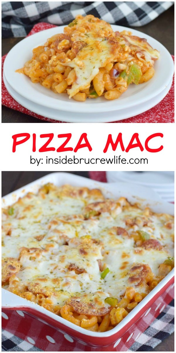 Your favorite pizza toppings added to macaroni and cheese is always a good idea!! This meal will disappear!