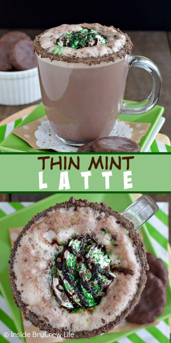 Thin Mint Latte - a homemade chocolate mint latte with a cookie rim and chocolate drizzles is a fun way to warm up! Try this easy recipe in your kitchen today! #homemade #latte #thinmints #coffee