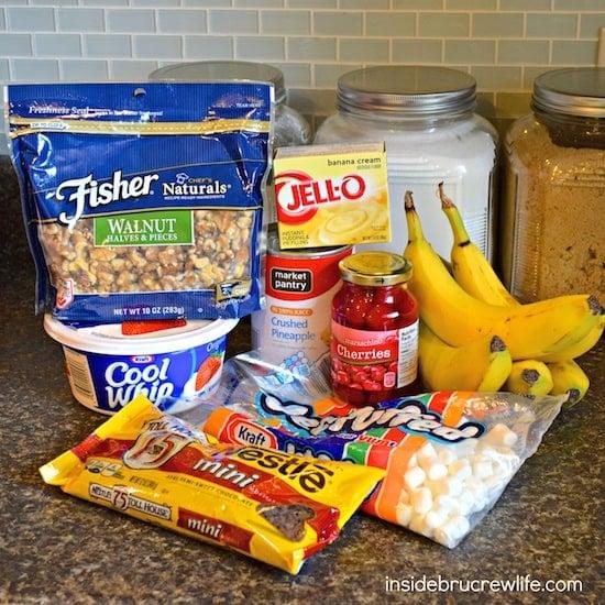 Banana Split Fluff Salad ingredients