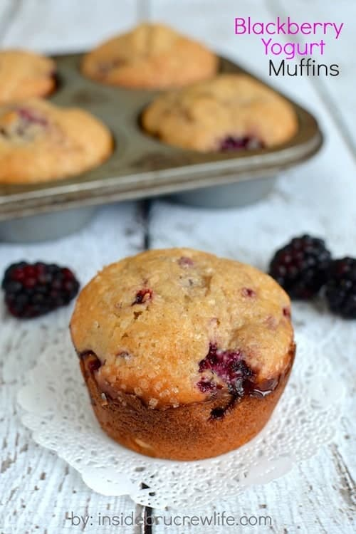 These light and fluffy blackberry muffins are a little bit healthier when made with yogurt. Great for breakfast on the go.