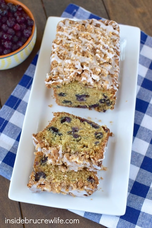 Blueberries, almonds, and crumble topping makes this sweet bread disappear in a hurry. Perfect for breakfast or an afternoon snack!