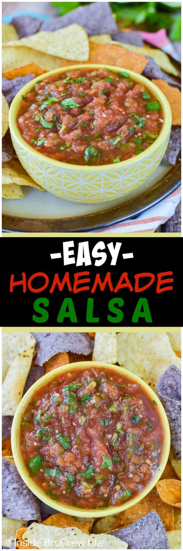 Easy Homemade Salsa - use onions, cilantro, and canned tomatoes for the best simple salsa! Great dip recipe for chips or adding to dinners! #salsa #homemade #chipsanddip #tomatoes #recipe
