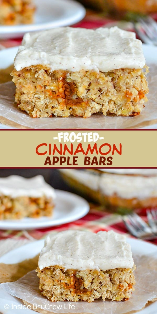 Frosted Cinnamon Apple Bars - these homemade oatmeal bars are full of fresh apples and cinnamon chips and topped with a creamy cinnamon frosting. Make this easy recipe for fall parties! #apple #oatmealbars #cinnamon #frosting #fall