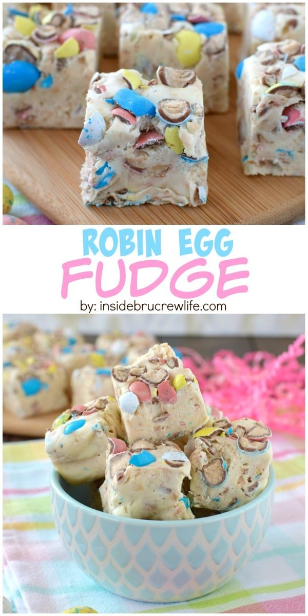 Robin Egg Fudge - easy vanilla malt fudge loaded with lots of crushed robin egg candy!  Great recipe to use up that leftover Easter candy!