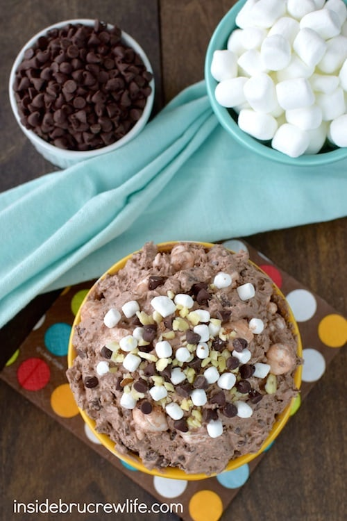 Chocolate, nuts, and marshmallows make this salad a fun way to end the meal!