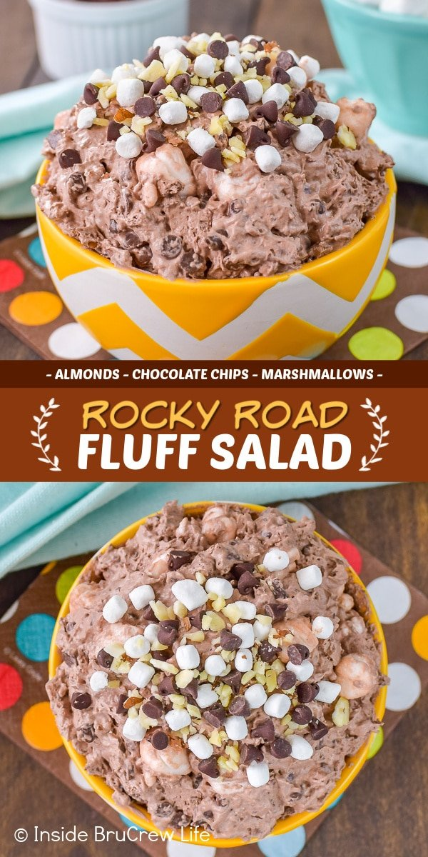 Two pictures of Rocky Road Fluff Salad collaged together with a brown text box