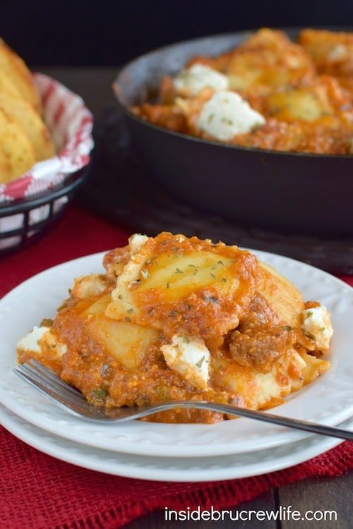 Three kinds of cheese and ready made ravioli make this an easy skillet dinner to prepare in less than 30 minutes!