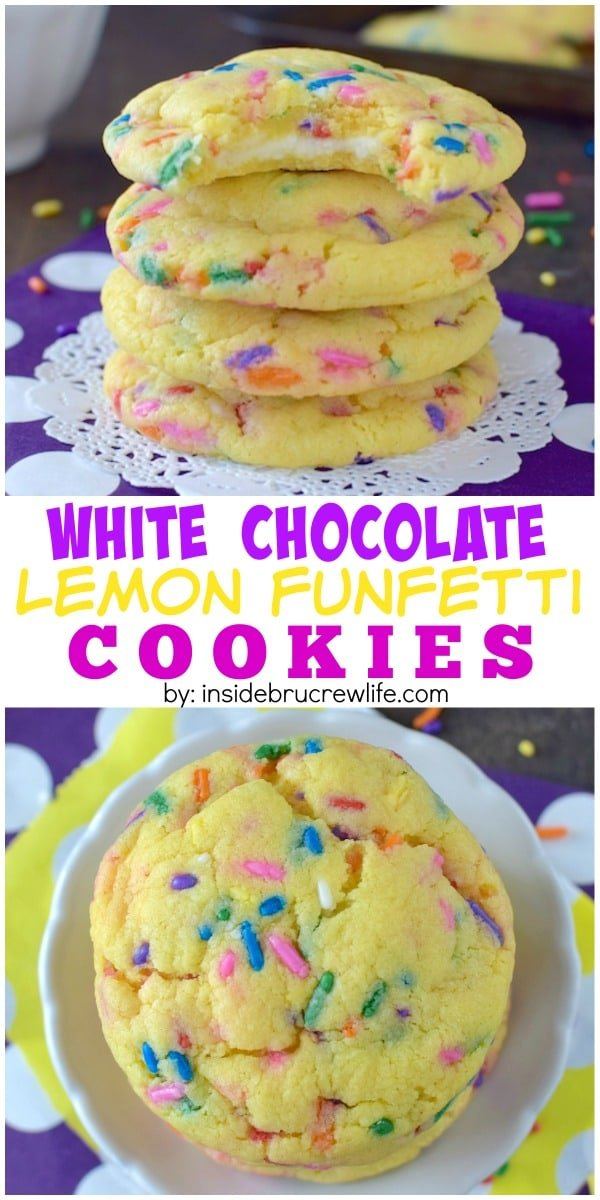 These easy lemon cookies have a hidden white chocolate center and plenty of funfetti sprinkles to make you smile.