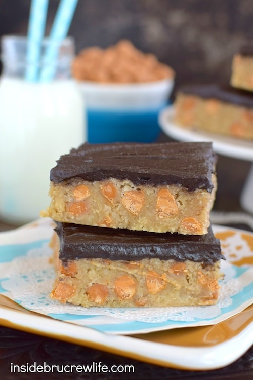Chocolate frosting and butterscotch chips give these oat bars a fun ...