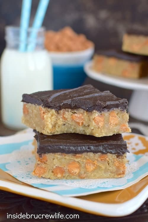 Chocolate frosting and butterscotch chips give these oat bars a fun and delicious twist.