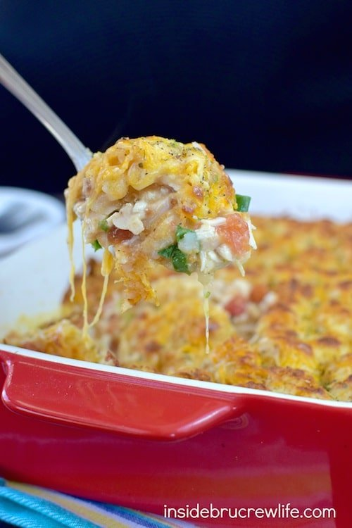 Spicy chicken and tomatoes give this cheesy tater tot casserole a delicious Mexican twist!