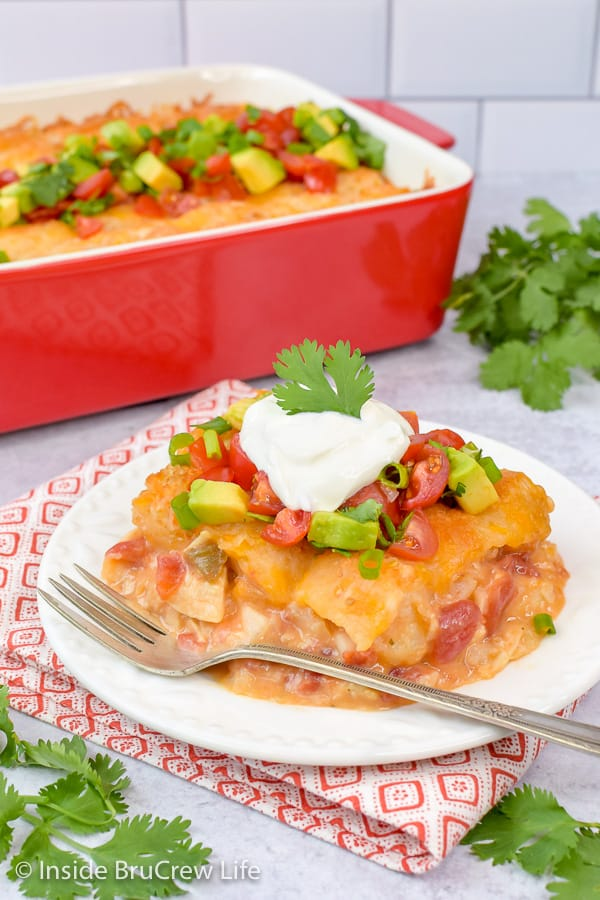Easy Mexican Chicken Tater Tot Casserole - cheesy tater tots mixed with chicken and spicy tomatoes makes a delicious comfort food meal the whole family will love. Try this easy recipe for dinner! #dinner #tatertotcasserole #mexicanchicken #tatertots #comfortfood #easyrecipe