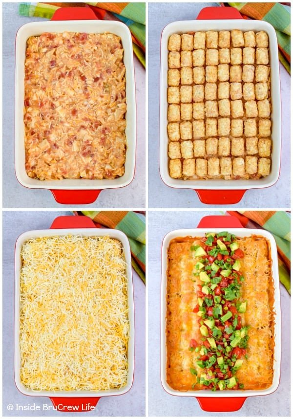 Easy Mexican Chicken Tater Tot Casserole - layers of cheesy chicken, tater tots, and cheese makes this tater tot casserole a delicious and easy dinner idea! #dinner #tatertotcasserole #mexicanchicken #tatertots #comfortfood #easyrecipe