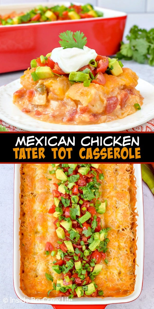 Easy Mexican Chicken Tater Tot Casserole - layers of chicken, tomatoes, tater tots, and cheese gives this tater tot casserole a delicious Mexican twist. Great recipe to make for busy nights! #dinner #tatertotcasserole #mexicanchicken #tatertots #comfortfood #easyrecipe