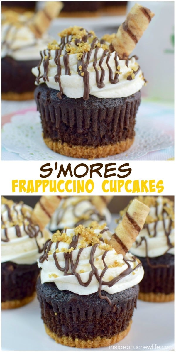 Chocolate, graham crackers, marshmallow frosting, and coffee make these S'mores Frappuccino Cupcakes an absolutely delicious treat for any party!