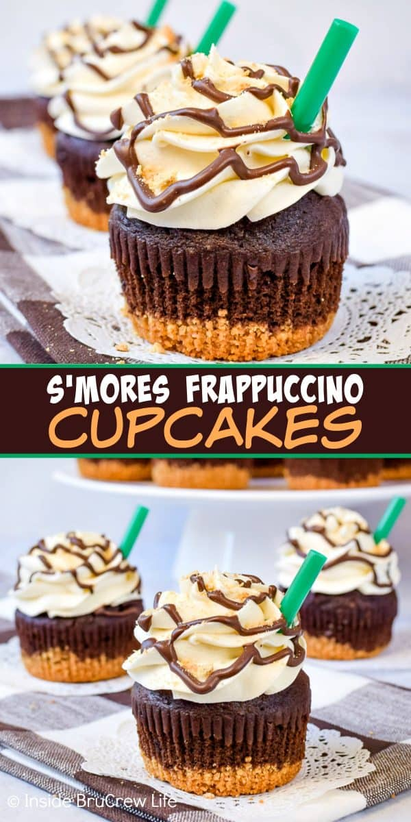 S'mores Frappuccino Cupcakes - chocolate, marshmallow, and graham crackers add a fun flair to this coffee and s'mores inspired cupcake! Easy recipe to make for summer parties! #cupcakes #smores #marshmallow #coffee