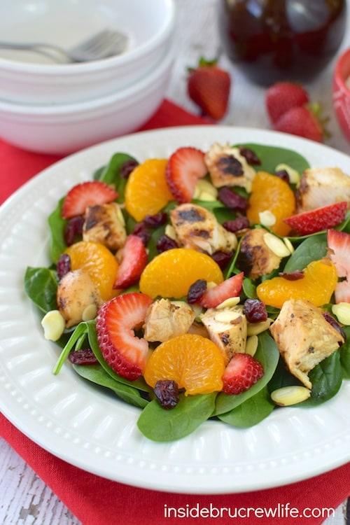 Strawberry Orange Spinach Salad with Chicken