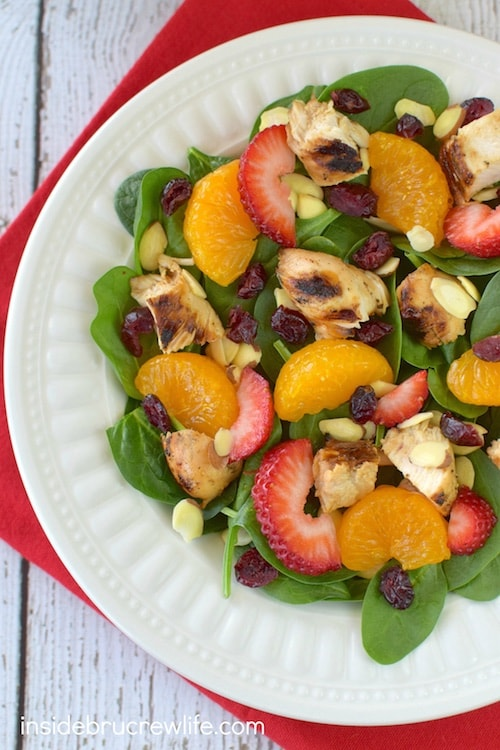 Strawberries, oranges, nuts, and cheese makes this a delicious and healthy meal. It will have you wanting salad again!