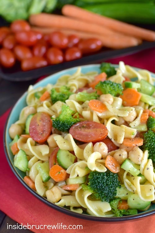 This easy pasta salad is full of your favorite veggies. It is the perfect picnic or barbecue salad!